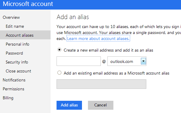 how to add an alias to outlook.com account