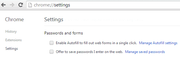 how to delete passwords autofill form settings on chrome