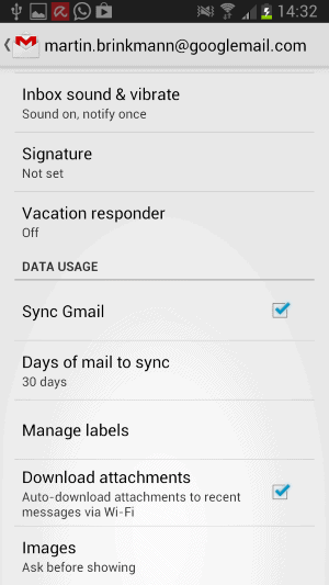 gmail android image preferences