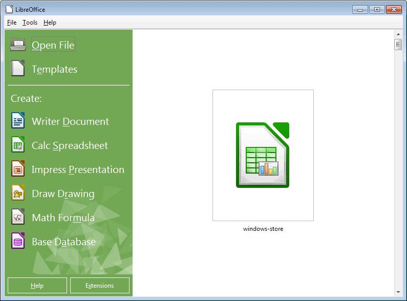 libreoffice start screen