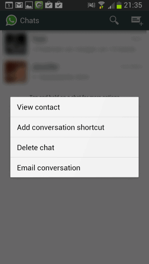 whatsapp conversation shortcuts