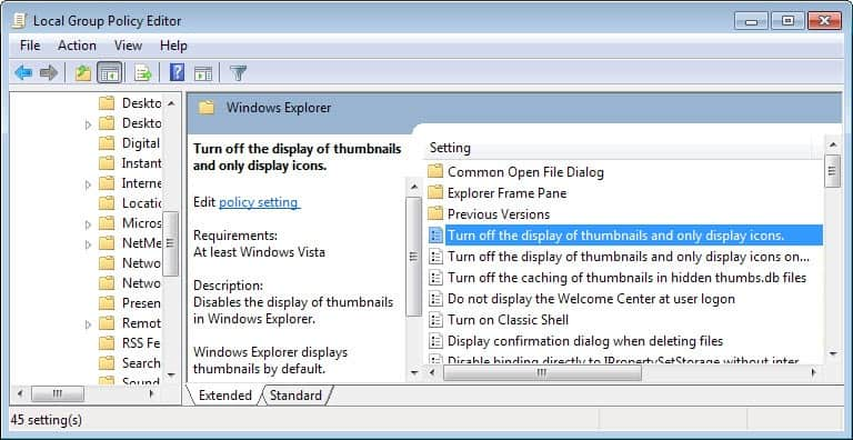 group policy thumbnail cache