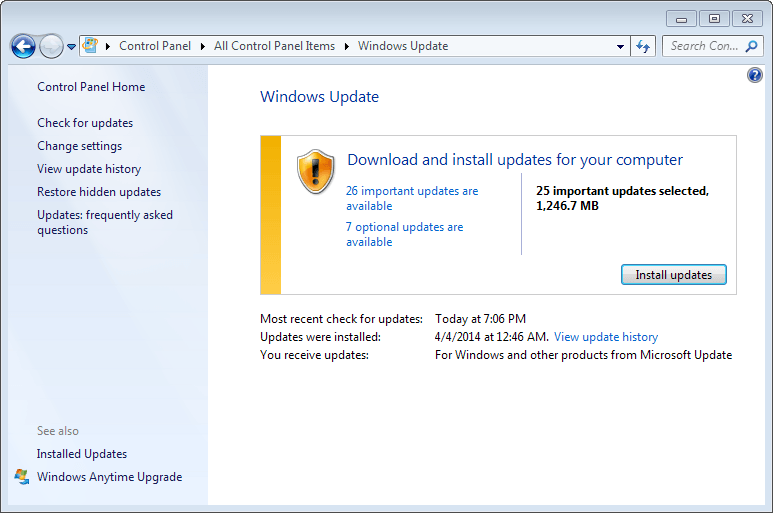 windows updates april 2014