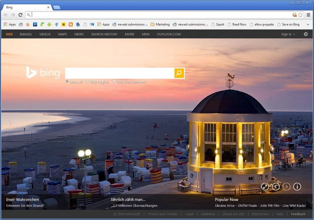 bing new tab page chrome