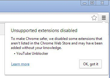 chrome unsupported extensions disabled