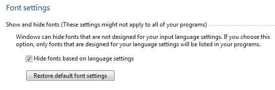 restore default font settings