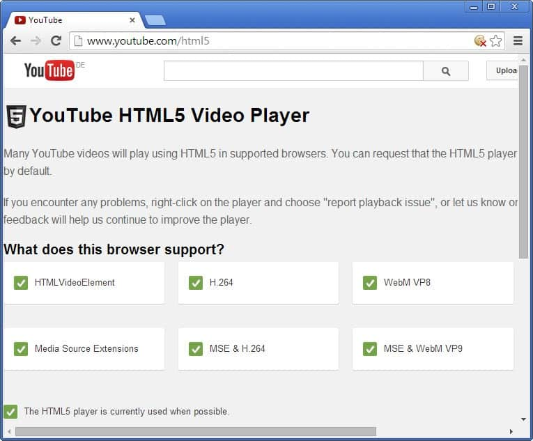youtube chrome html5 player