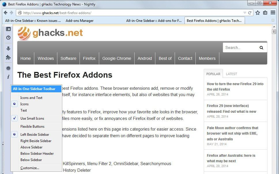 firefox all-in-one sidebar