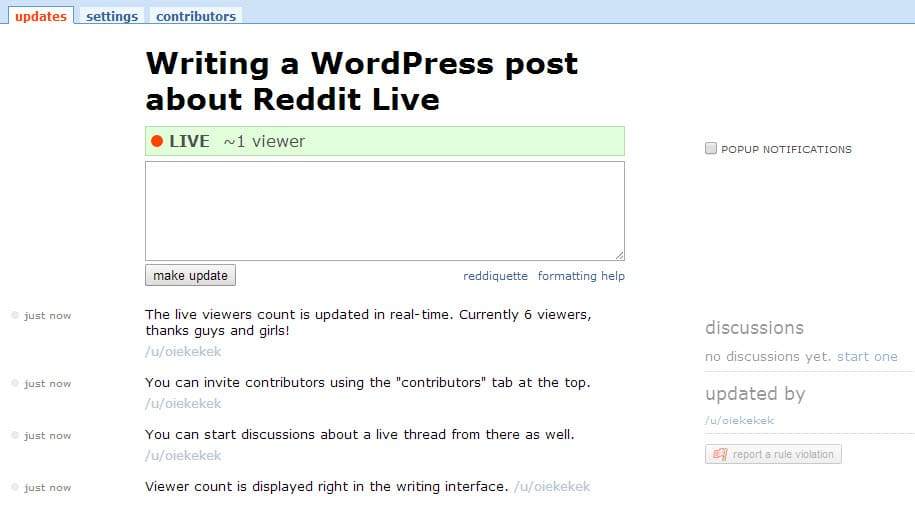 reddit live interface