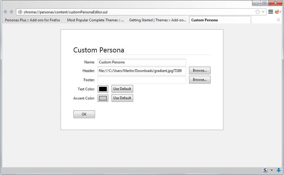 firefox custom persona