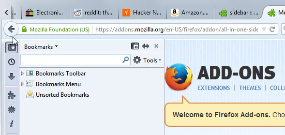 how to find history sidebar on firefox