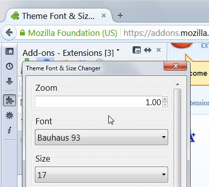 how to change font size in firefox email