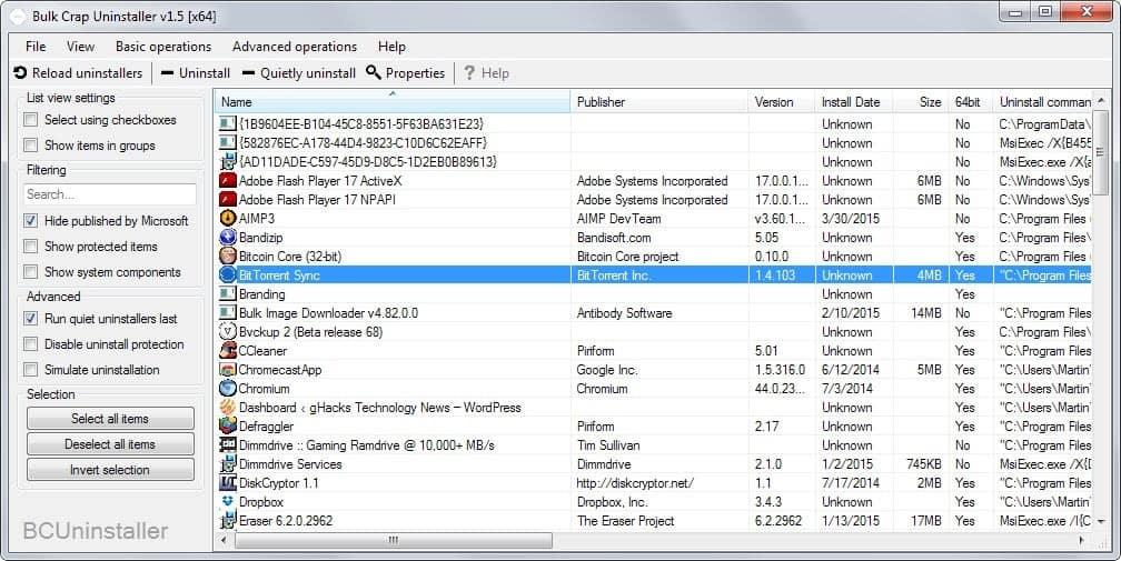 Bulk Crap Uninstaller removes multiple programs silently ...