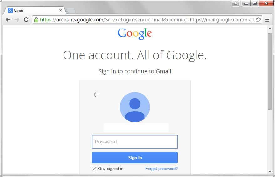 google sign-in step 2