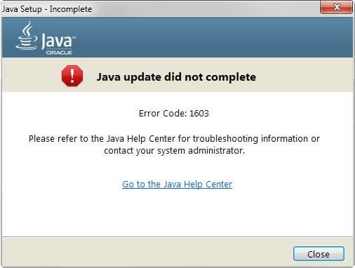 java update did not complete error code 1603