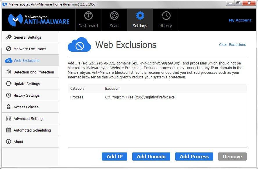 malwarebytes exclusions