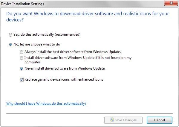 device installation settings