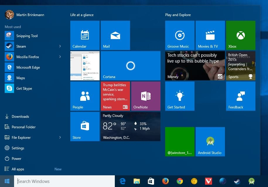 The start menu is not just a copy of the windows 7 start menu though