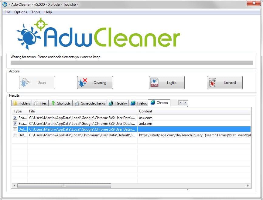 طريقة اصلاح مشاكل المتصفح نوافذ منبثقة واعلانات مزعجة وصفحات رئيسية بوابة 2016 adwcleaner-5.jpg