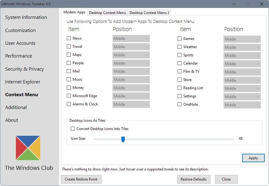 modern apps context menu