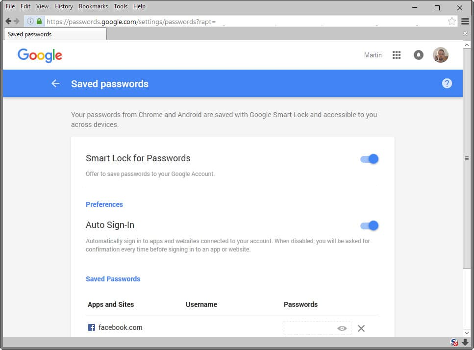 google saved passwords