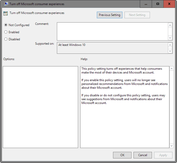 turn off microsoft consumer experience