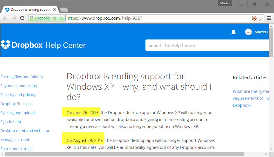 dropbox xp support end