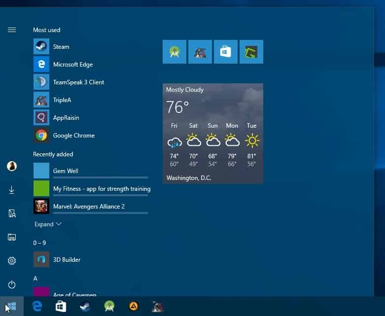 windows 10 new start menu