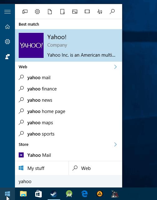 windows 10 web search