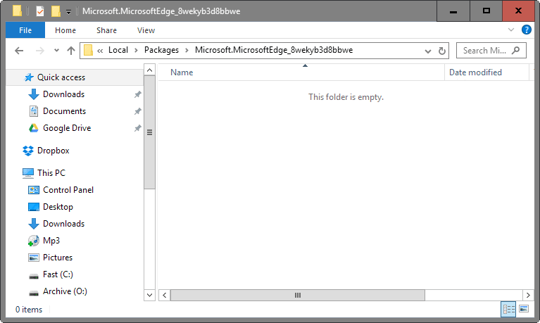 microsoft edge empty folder
