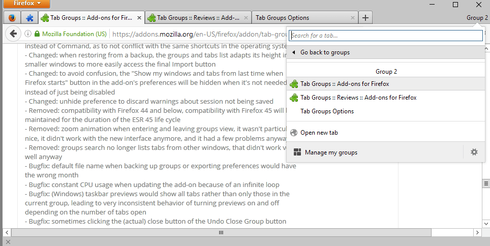 tab groups version 2