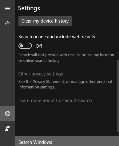cortana turn off online web results
