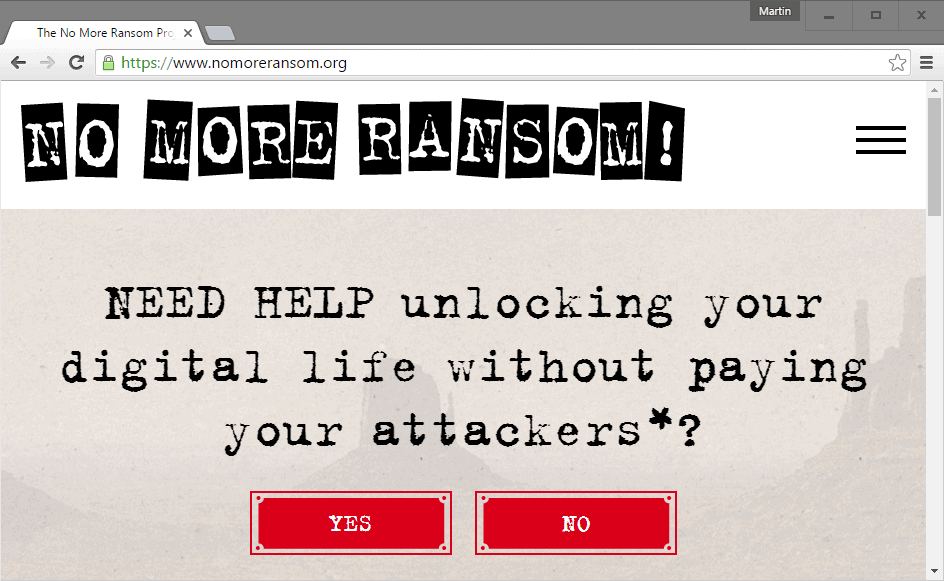 No More Ransom: Anti-Ransomware Help Site - gHacks Tech News