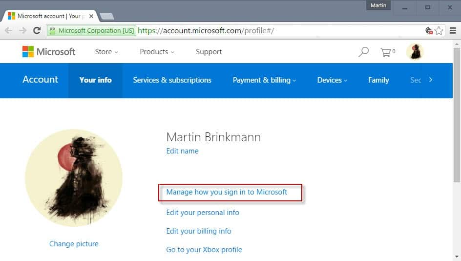 how to change microsoft account picture