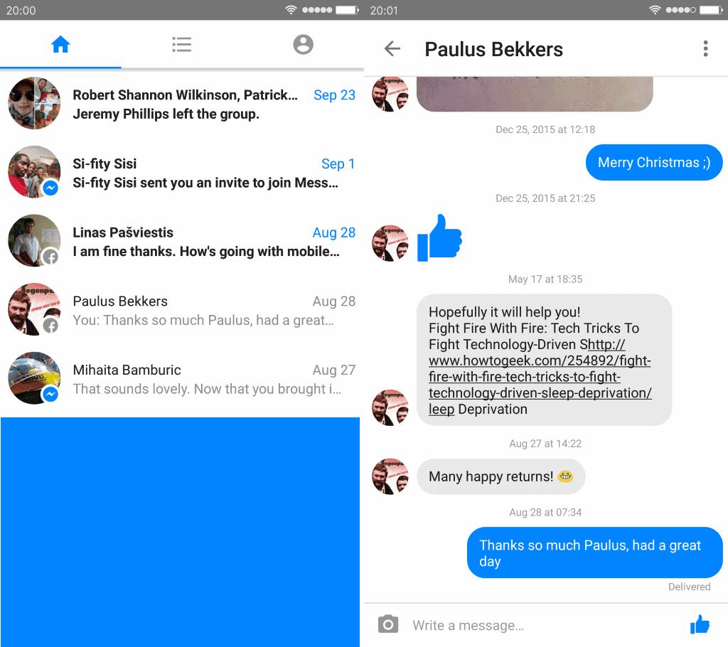 Facebook messenger in java format