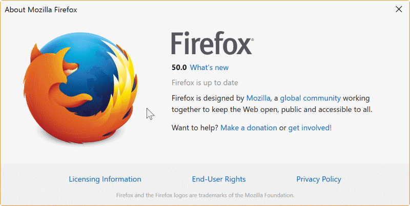 Firefox 50 now available