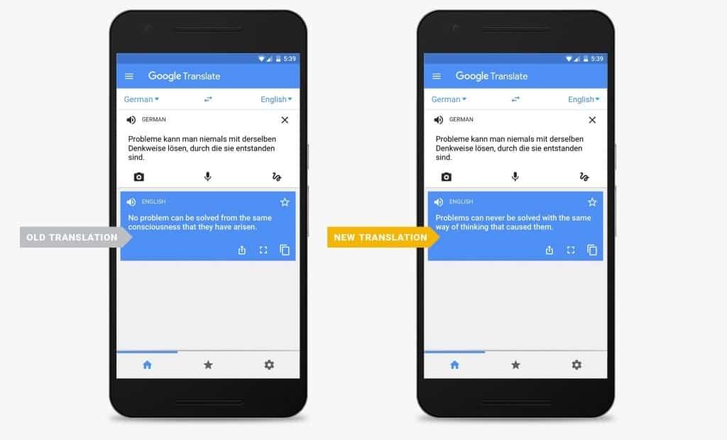 neutral network translation google