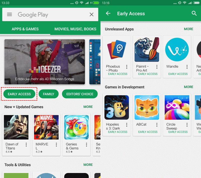 early access android google play