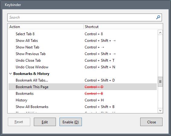 keybinder disable firefox keyboard shortcuts