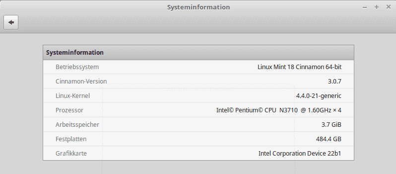 linux mint system information