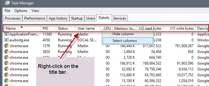 task manager display information