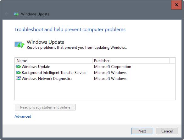 feil med windows update