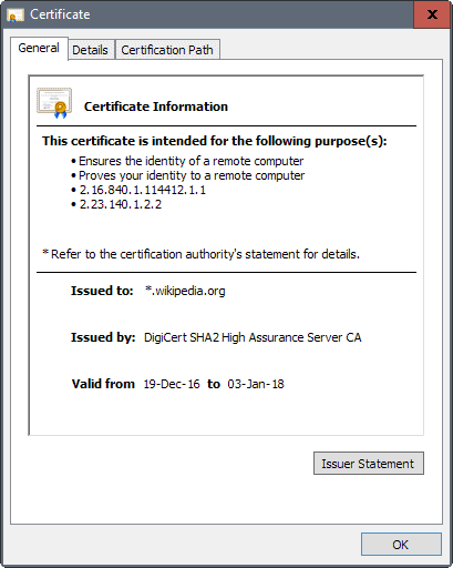 chrome certificate window