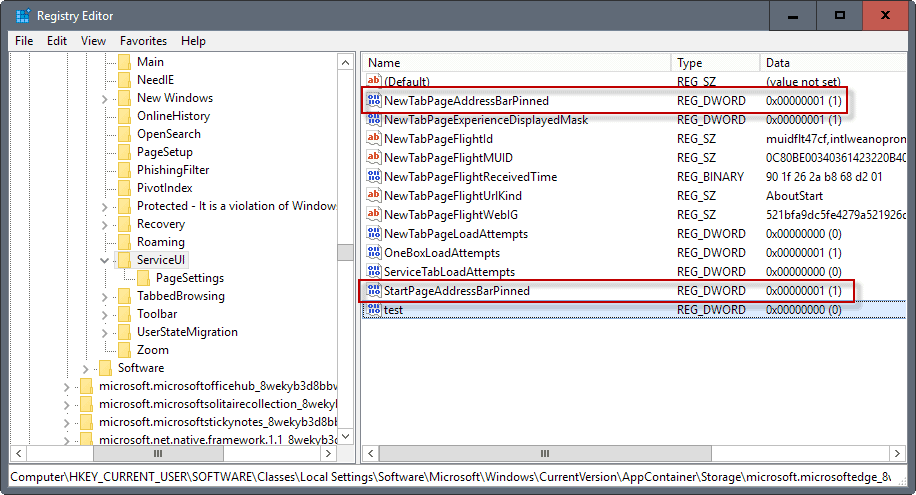 microsoft edge address bar pinned