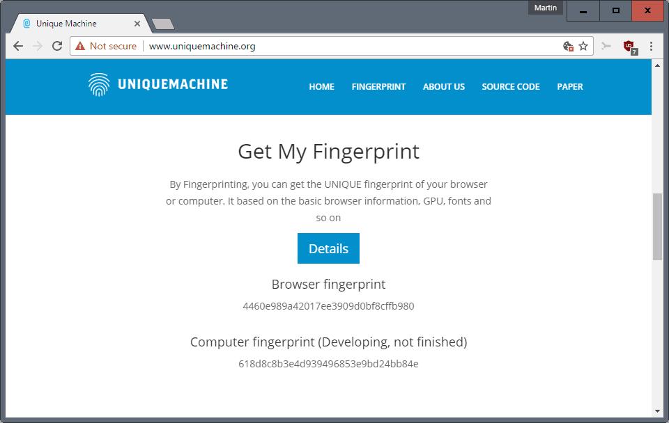 get fingerprint