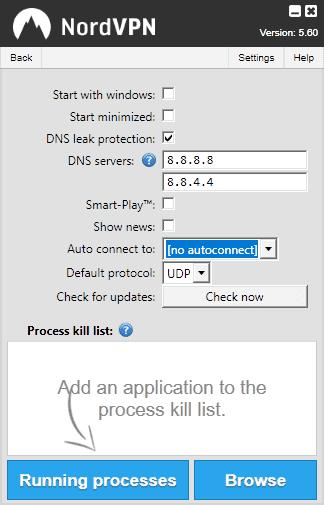nordvpn client settings