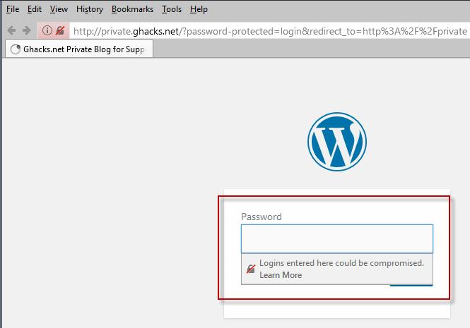 firefox 52.0 warning insecure login