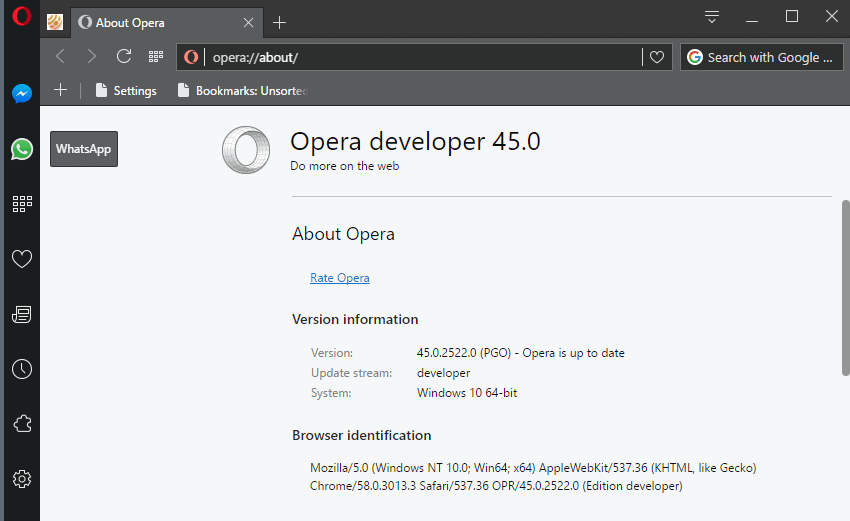 opera 45 whatsapp