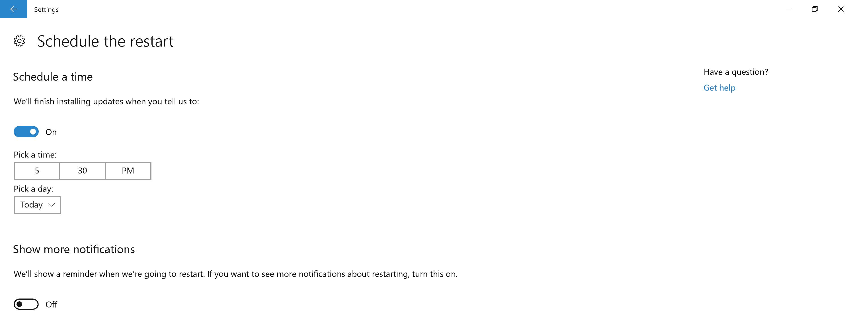 windows update schedule restart