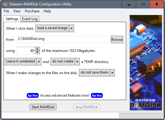 dataram ramdisk software